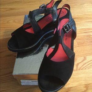 """Pas de Rouge Shoes - Pas De Rouge """"Dover"""" Black suede wedges"""